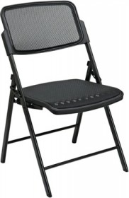 OSP Seating Deluxe Folding Chair w/ Black ProGrid Seat & Back (Set of 2) - Office Star 81308