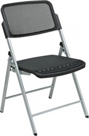 OSP Seating Deluxe Folding Chair w/ Black & Silver ProGrid Seat & Back (Set of 2) - Office Star 81608