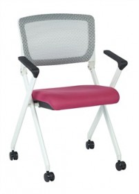 Office Star 848W-261 Mesh Folding Chair w/ Pink Seat