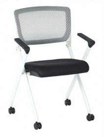 Office Star 848W-3M Mesh Folding Chair w/ Black Seat