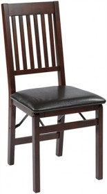 Office Star HA424-ES Hacienda Folding Chair w/ Espresso Faux Leather Seat (Set of 2)