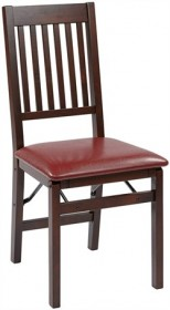 Office Star HA424-RD Hacienda Folding Chair w/ Red Faux Leather Seat (Set of 2)