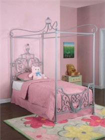 Princess Rebecca Canopy Twin Size Bed in Silver Finish Powell 374-106