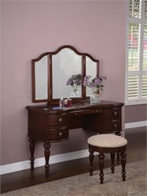 Vanity with Mirror and Bench Set in Marquis Cherry Finish Powell 508-290