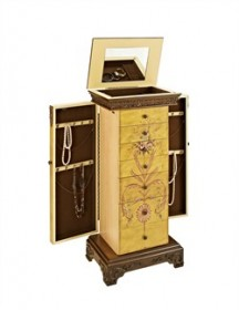 Masterpiece Antique Parchment Hand Painted Jewelry Armoire  Powell-582-314
