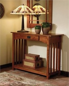 Mission Oak Console & Mirror - Powell 993-289