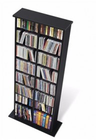 Black Double Multimedia Storage Tower - Prepac BMA-0320
