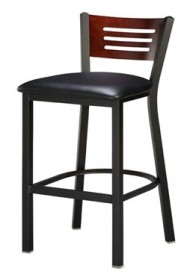 Regal Seating 1316 3 Slot Back Steel Stool with Wood Back and Upholstered or Wood Seat