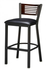 Regal Seating 1316 5 Slot Back Steel Stool with Wood Back and Upholstered or Wood Seat