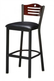Regal Seating 1316 Arch Back Steel Stool with Wood Back and Upholstered or Wood Seat