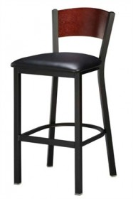 Regal Seating 1316 Full Back Steel Stool with Wood Back and Upholstered or Wood Seat