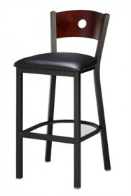 Regal Seating 1316 Hole Back Steel Stool with Wood Back and Upholstered or Wood Seat