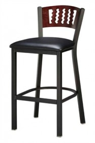 Regal Seating 1316 Wavy Back Steel Stool with Wood Back and Upholstered or Wood Seat