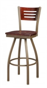 Regal Seating 3316 3 Slot Back Steel Stool with Wood Back and Upholstered or Wood Seat