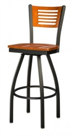 Regal Seating 3316 5 Slot Back Steel Stool with Wood Back and Upholstered or Wood Seat