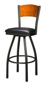 Regal Seating 3316 Full Back Steel Stool with Wood Back and Upholstered or Wood Seat