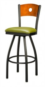 Regal Seating 3316 Hole Back Steel Stool with Wood Back and Upholstered or Wood Seat