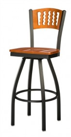 Regal Seating 3316 Wavy Back Steel Stool with Wood Back and Upholstered or Wood Seat
