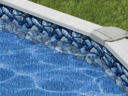 30' Round Boulder Beach Overlap Swimming Pool Liner