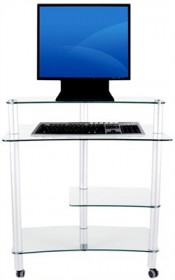 Computer Desk in Glass and Aluminum Finish RTA CT-010