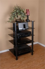 Tier One Designs 25 inch Black Glass TV Stand / Audio Rack - RTA T1D-137BKTV