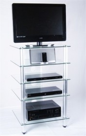 Tier One Designs 25 inch Clear Glass TV Stand / Audio Rack - RTA T1D-137TV