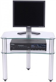 24 Inch Plasma LCD TV Stand in Glass and Aluminum Finish RTA TV-001