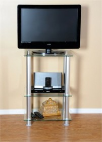 20 Inch Extra Tall Glass & Aluminum Stand  - RTA TVM-005
