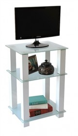 20 inch Extra Tall Glass & White TV Stand or Utility Table - RTA TVM-005W