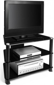 32 Inch Corner LCD TV Stand in Black Glass Finish RTA TVM-021B