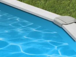 30' Round Solid Blue Overlap Pool Liner