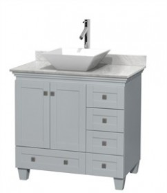 "Wyndham WCV800036SOYCMD2WMXX - Acclaim 36"" Single Bathroom Vanity in Oyster Gray, White Carrera Marble Countertop, Pyra White Porcelain Sink & No Mirror"