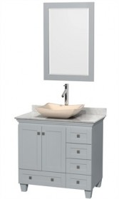 "Wyndham WCV800036SOYCMGS2M24 - Acclaim 36"" Single Bathroom Vanity in Oyster Gray, White Carrera Marble Countertop, Avalon Ivory Marble Sink & 24"" Mirror"