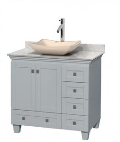 "Wyndham WCV800036SOYCMGS2MXX - Acclaim 36"" Single Bathroom Vanity in Oyster Gray, White Carrera Marble Countertop, Avalon Ivory Marble Sink & No Mirror"