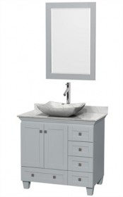 "Wyndham WCV800036SOYCMGS3M24 - Acclaim 36"" Single Bathroom Vanity in Oyster Gray, White Carrera Marble Countertop, Avalon White Carrera Marble Sink & 24"" Mirror"