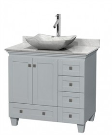 "Wyndham WCV800036SOYCMGS3MXX - Acclaim 36"" Single Bathroom Vanity in Oyster Gray, White Carrera Marble Countertop, Avalon White Carrera Marble Sink & No Mirror"