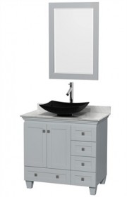 "Wyndham WCV800036SOYCMGS4M24 - Acclaim 36"" Single Bathroom Vanity in Oyster Gray, White Carrera Marble Countertop, Arista Black Granite Sink & 24"" Mirror"