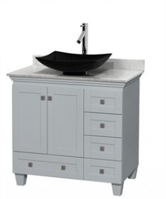 "Wyndham WCV800036SOYCMGS4MXX - Acclaim 36"" Single Bathroom Vanity in Oyster Gray, White Carrera Marble Countertop, Arista Black Granite Sink & No Mirror"