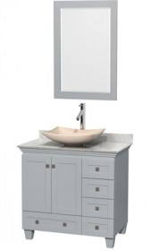 "Wyndham WCV800036SOYCMGS5M24 - Acclaim 36"" Single Bathroom Vanity in Oyster Gray, White Carrera Marble Countertop, Arista Ivory Marble Sink & 24"" Mirror"
