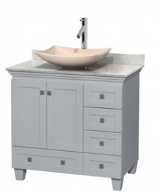 "Wyndham WCV800036SOYCMGS5MXX - Acclaim 36"" Single Bathroom Vanity in Oyster Gray, White Carrera Marble Countertop, Arista Ivory Marble Sink & No Mirror"