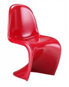 Set of 2 - S Chair in Red Finish Zuo Modern 103184