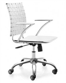 Criss Cross Office Chair in White Finish Zuo Modern 205031 (Shipping Included)