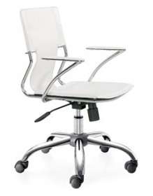 Trafico Office Chair in White Finish Zuo Modern 205182 (Shipping Included)