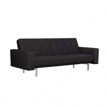 DHP Premium City Linen Queen Convertible Sofa in Black